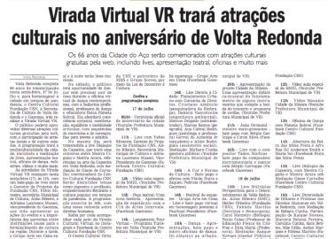 Virada Virtual VR terá atrações culturais no aniversário de Volta Redonda