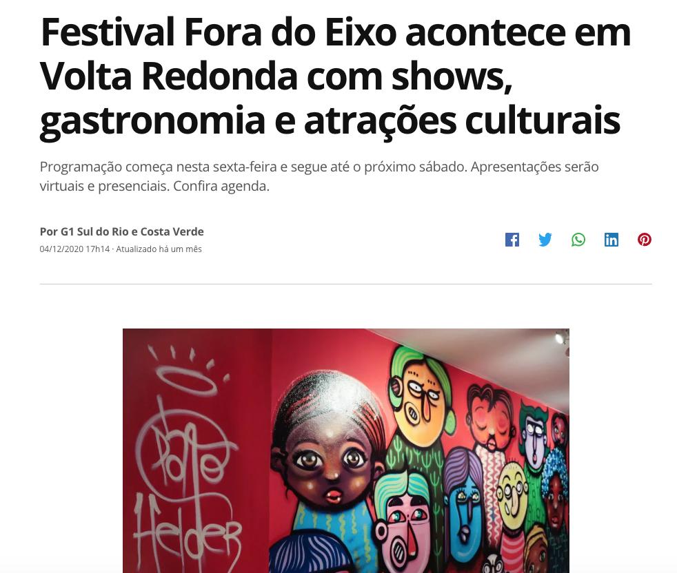 Festival Fora do Eixo acontece em Volta Redonda com shows, gastronomia e atrações culturais