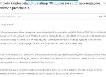 Projeto #JuntosPelaCultura atinge 30 mil pessoas com apresentacoes online e presenciais